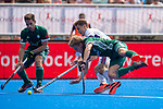 Krefeld, Germany, May 19: During the Final4 Gold Medal fieldhockey match between Uhlenhorst Muelheim and Mannheimer HC on May 19, 2019 at Gerd-Wellen Hockeyanlage in Krefeld, Germany. (worldsportpics Copyright Dirk Markgraf) *** Ferdinand Weinke #4 of Uhlenhorst Muelheim, Timm Haase #27 of Mannheimer HC