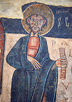 Romanesque frescoes of the St. Paul from the church of Sant Roma de les Bons, painted around 1164, Encamp, Andorra. National Art Museum of Catalonia, Barcelona. MNAC 15783