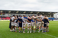 The Bath Rugby team huddle together after the match. Aviva Premiership match, between Sale Sharks and Bath Rugby on May 6, 2017 at the AJ Bell Stadium in Manchester, England. Photo by: Patrick Khachfe / Onside Images