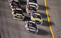 Feb 9, 2008; Daytona, FL, USA; Nascar Sprint Cup Series driver David Gilliland (38) leads the field during the Bud Shootout at Daytona International Speedway. Mandatory Credit: Mark J. Rebilas-US PRESSWIRE