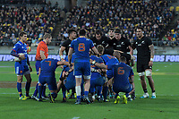 A scrum sets during the Steinlager Series international rugby match between the New Zealand All Blacks and France at Westpac Stadium in Wellington, New Zealand on Saturday, 16 June 2018. Photo: Dave Lintott / lintottphoto.co.nz