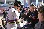 World Champion Peter Sagan (SVK) Bora-Hansgrohe with fans before the start of Gent-Wevelgem in Flanders Fields 2017, running 249km from Denieze to Wevelgem, Flanders, Belgium. 26th March 2017.<br /> Picture: Eoin Clarke | Cyclefile<br /> <br /> <br /> All photos usage must carry mandatory copyright credit (&copy; Cyclefile | Eoin Clarke)