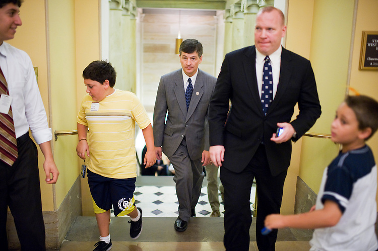 UNITED STATES - JULY 27:  Rep. JebHensarling, R-Texas, chairman of the House Republican Conference, walks into the crypt after a meeting with his caucus in the Capitol.  (Photo By Tom Williams/Roll Call)