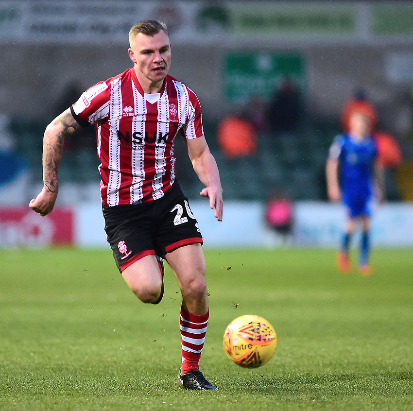 Lincoln City's Harry Anderson<br /> <br /> Photographer Andrew Vaughan/CameraSport<br /> <br /> The EFL Sky Bet League Two - Saturday 15th December 2018 - Lincoln City v Morecambe - Sincil Bank - Lincoln<br /> <br /> World Copyright © 2018 CameraSport. All rights reserved. 43 Linden Ave. Countesthorpe. Leicester. England. LE8 5PG - Tel: +44 (0) 116 277 4147 - admin@camerasport.com - www.camerasport.com
