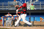 Batavia Muckdogs shortstop Samuel Castro (25) at bat during the second game of a doubleheader against the Auburn Doubledays on September 4, 2016 at Dwyer Stadium in Batavia, New York.  Batavia defeated Auburn 6-5. (Mike Janes/Four Seam Images)