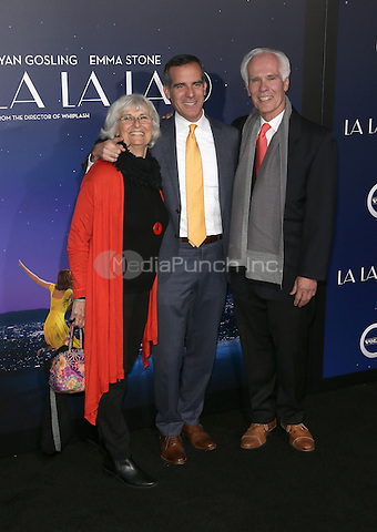 "Westwood, CA - DECEMBER 06: Sukey Garcetti, Eric Garcetti, Gil Garcetti, At Premiere Of Lionsgate's ""La La Land"" At Mann Village Theatre, California on December 06, 2016. Credit: Faye Sadou/MediaPunch"