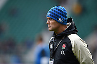 England Rugby Defence Coach John Mitchell looks on during the pre-match warm-up. Guinness Six Nations match between England and France on February 10, 2019 at Twickenham Stadium in London, England. Photo by: Patrick Khachfe / Onside Images