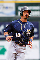 San Antonio Missions infielder Tyler Saladino (13) rounds third base during a Pacific Coast League game against the Iowa Cubs on May 2, 2019 at Principal Park in Des Moines, Iowa. Iowa defeated San Antonio 8-6. (Brad Krause/Four Seam Images)