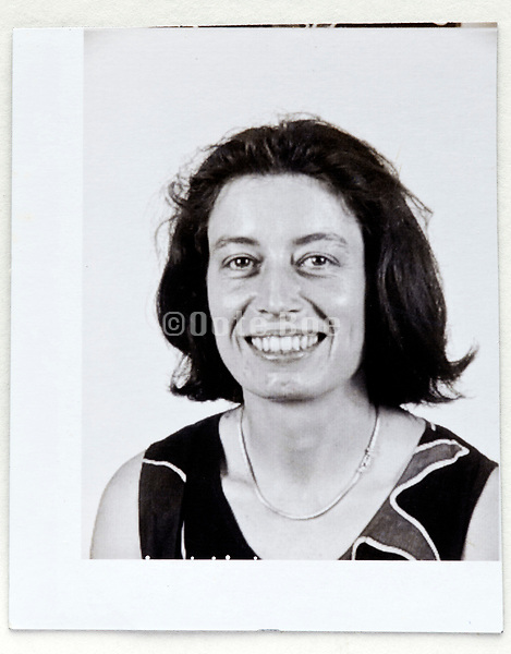 ID style head shot photo of an woman 1980s 1990s