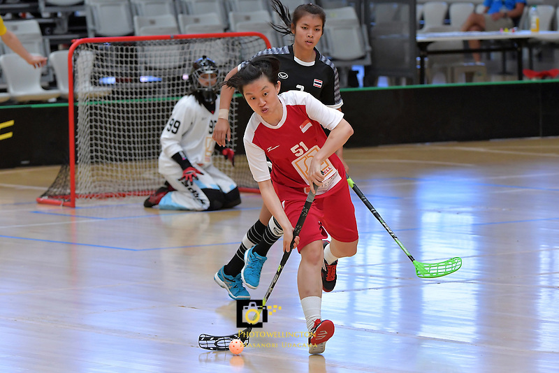 Singapore's Hui Hui Ong in action during the World Floorball Championships 2017 Qualification for Asia Oceania Region - Singapore v Thailand at ASB Sports Centre , Wellington, New Zealand on Sunday 5 February 2017.<br /> Photo by Masanori Udagawa<br /> www.photowellington.photoshelter.com.