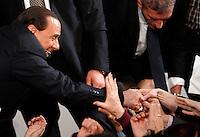 L'ex presidente del consiglio ed ex senatore Silvio Berlusconi saluta i suoi sostenitori al termine del comizio per il lancio dei Club Forza Silvio a Roma, 8 dicembre 2013.<br /> Former Italian Premier and former senator Silvio Berlusconi greets his supporters after attending a rally to present the Clubs Forza Silvio (Go Silvio) in Rome, 8 December 2013.<br /> UPDATE IMAGES PRESS/Riccardo De Luca
