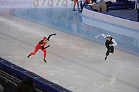 SPEEDSKATING: SOCHI: Adler Arena, 24-03-2013, Essent ISU World Championship Single Distances, Day 4, 500m Ladies, Beixing Wang (CHN), Heather Richardson (USA), © Martin de Jong