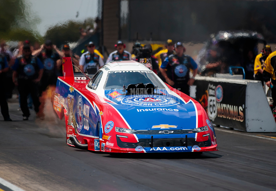 Jun 2, 2019; Joliet, IL, USA; NHRA funny car driver Robert Hight during the Route 66 Nationals at Route 66 Raceway. Mandatory Credit: Mark J. Rebilas-USA TODAY Sports