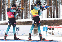 March 14th 2020, Kontiolahti, Finland;  Martin Fourcade and Emilien Jacquelin, both of France, compete during the mens 12.5 km Pursuit competition at the IBU Biathlon World Cup in Kontiolahti, Finland, on March 14, 2020. Kontiolahti Finland LKLAPJ20200314150151Y923