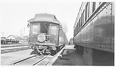 End view of parlor car with Shavano drum head in Alamosa yards.<br /> D&amp;RGW  Alamosa, CO