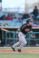 Corey Adamson #5 of the Lake Elsinore Storm bats against the Lancaster JetHawks at The Hanger on April 4, 2014 in Lancaster, California. Lake Elsinore defeated Lancaster, 6-1. (Larry Goren/Four Seam Images)
