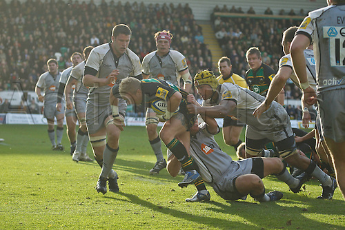 30.10.2010 Aviva Premiership Rugby Northampton Saints v Newcastle Falcons.  Northampton's Shane Geraghty on the attack.
