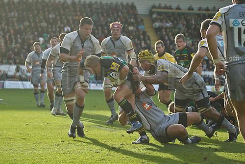 30.10.2010 Aviva Premiership Rugby Northampton Saints v Newcastle Falcons.  Northampton's Shane Geraghty on the attack.
