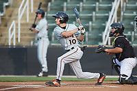Adam Hall (10) of the Delmarva Shorebirds follows through on his swing against the Kannapolis Intimidators at Kannapolis Intimidators Stadium on June 3, 2019 in Kannapolis, North Carolina. The Shorebirds defeated the Intimidators 5-3. (Brian Westerholt/Four Seam Images)