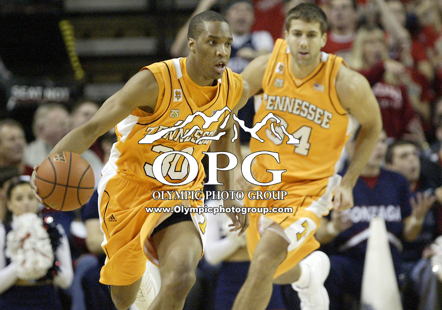 "29 December 2007:  Tennessee's #30 J. P. Prince prince the ball down court against the Gonzaga Bulldogs at Key Arena in the annual ""Battle of Seattle"" in Seattle, WA. The Tennessee Volunteers won 82-72 over the Gonzaga Bulldogs."