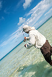 Bone fishing in the lagoon in Kiritimati, Kiribati