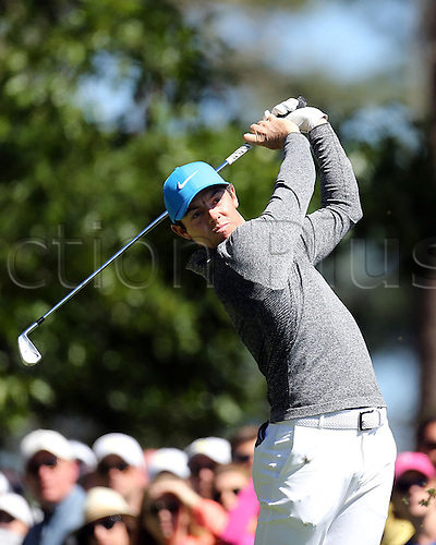 09.04.2016. Augusta, GA, USA.  Rory McIlroy plays hits from the 4th tee during the third round of the 80th Masters at the Augusta National Golf Club in Augusta, Ga., on Saturday, April 9, 2016