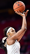 College Park, MD - NOV 21, 2017: Maryland Terrapins guard Ieshia Small (1) hits a jump shot during the game between the Howard Lady Bison and the Maryland Terrapins at the XFINITY Center in College Park, MD.  (Photo by Phil Peters/Media Images International)