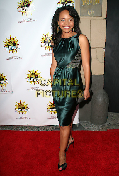 GINA RAVERA .3rd Annual Hot in Hollywood, held at Avalon, Hollywood, California, .USA, 16 August 2008..full length green silk dress black clutch bag shoes peep toe .CAP/ADM/FS.©Faye Sadou/Admedia/Capital Pictures