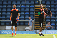Blackpool's Mark Howard (left) and Christoffer Mafoumbi during the pre-match warm-up <br /> <br /> Photographer Kevin Barnes/CameraSport<br /> <br /> The EFL Sky Bet League One - Wycombe Wanderers v Blackpool - Saturday 4th August 2018 - Adams Park - Wycombe<br /> <br /> World Copyright &copy; 2018 CameraSport. All rights reserved. 43 Linden Ave. Countesthorpe. Leicester. England. LE8 5PG - Tel: +44 (0) 116 277 4147 - admin@camerasport.com - www.camerasport.com
