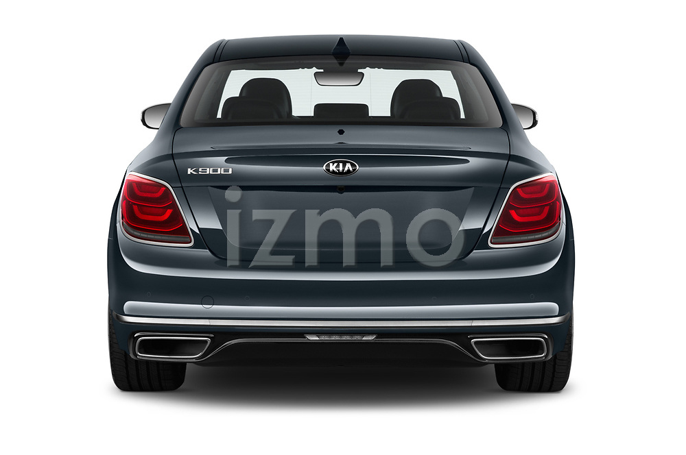 Straight rear view of 2019 KIA K900 Luxury 4 Door Sedan Rear View  stock images