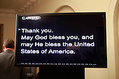 Teleprompter following United States President Barack Obama's statement on the Paris Climate Agreement in the Cabinet Room of the White House in Washington, DC on December 12, 2015.<br /> Credit: Dennis Brack / Pool via CNP