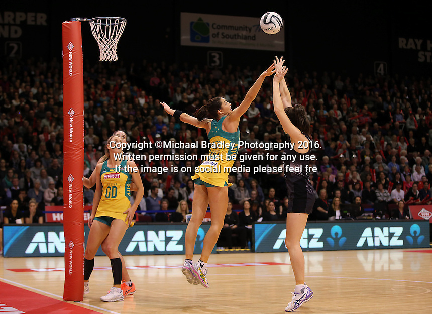 20.10.2016 Silver Ferns Bailey Mes and Australia's Sharni Layton in action during the Silver Ferns v Australia netball test match played at ILT Stadium in Invercargill. Mandatory Photo Credit ©Michael Bradley.