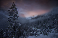 Wintry sunset in Yosemite Valley. Yosemite National Park, CA