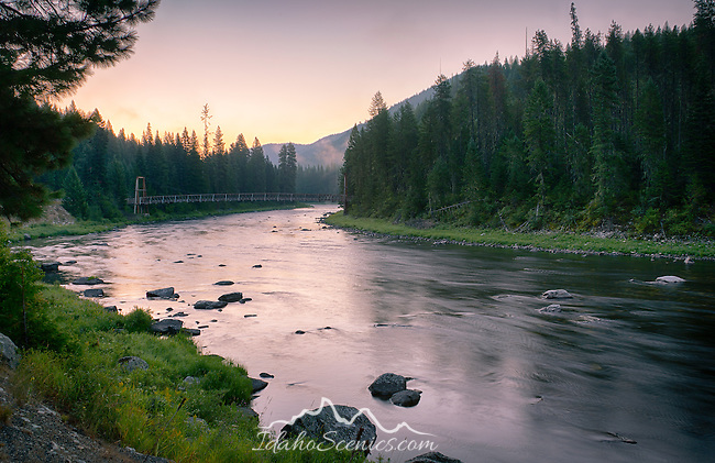 Idaho, North Central, Clearwater National Forest. Summer dawn on the Lochsa River.