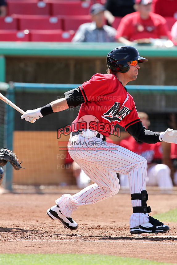Matt Cerione #9 of the High Desert Mavericks bats against the Lancaster JetHawks at Mavericks Stadium in Adelanto,California on May 30, 2011. Photo by Larry Goren/Four Seam Images