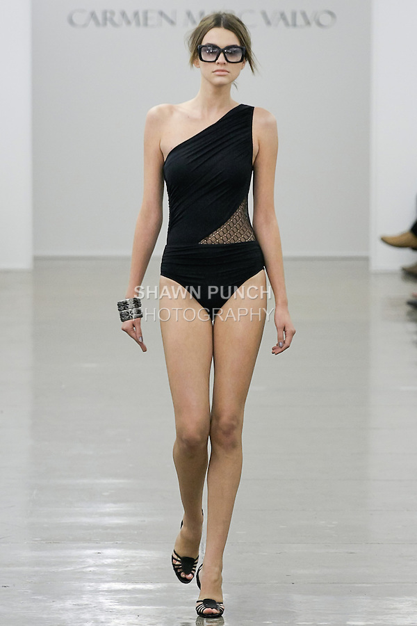 Kristina walks runway in an outfit from the Carmen Marc Valvo Spring 2013 collection fashion show, during Mercedes-Benz Fashion Week Spring 2013.