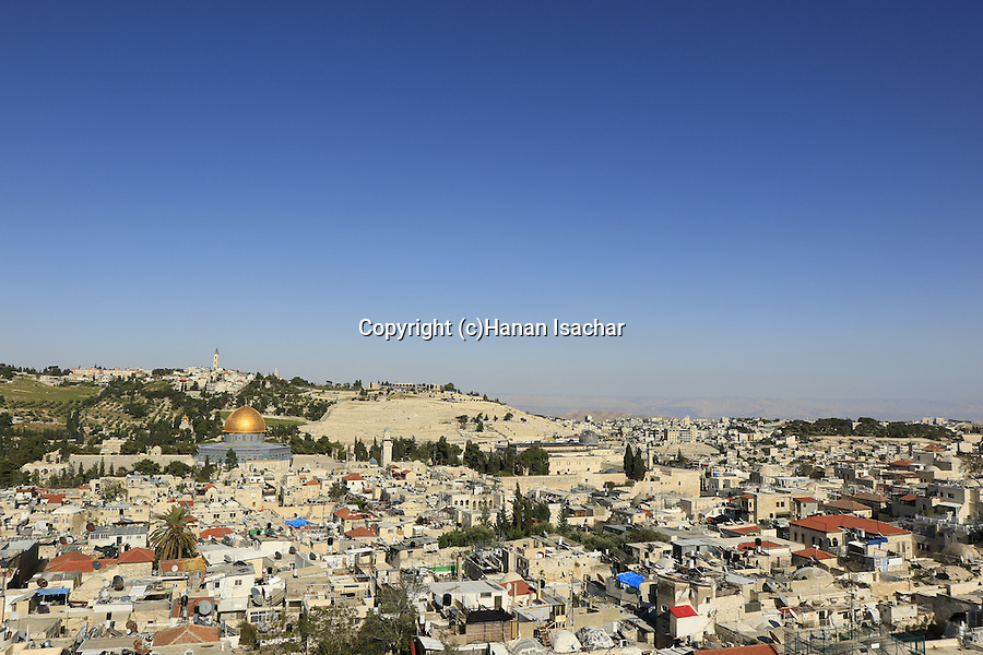 Israel, Jerusalem  Old City, a view of Temple Mount from the bell tower of the Church of the Redeemer, Mount of Olives is in the background