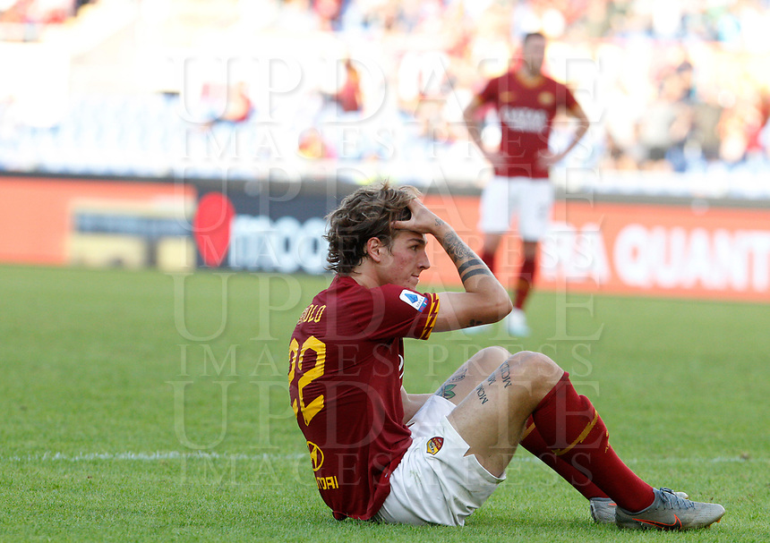 Roma's Nicolo' Zaniolo dejects at the end of the Serie A soccer match between Roma and Cagliari at Rome's Olympic Stadium, October 6, 2019. Roma and Cagliari drawed 1-1. UPDATE IMAGES PRESS/ Riccardo De Luca