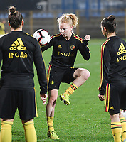 20191108 - Zapresic , BELGIUM : Belgian Charlotte Tison pictured during the female soccer game between the womensoccer teams of  Croatia and the Belgian Red Flames , the third women football game for Belgium in the qualification for the European Championship round in group H for England 2021, friday 8 th october 2019 at the NK Inter Zapresic stadium near Zagreb , Croatia .  PHOTO SPORTPIX.BE | DAVID CATRY
