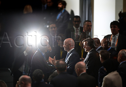 26.02.2016. Zurich, Switzerland.  Swiss Gianni Infantino (C) is congratulated after he was elected FIFA president after the second round of voting at the Extraordinary FIFA Congress 2016 at the Hallenstadion in Zurich, Switzerland, 26 February 2016. The Extraordinary FIFA Congress is being held in order to vote on the proposals for amendments to the FIFA Statutes and choose the new FIFA President.