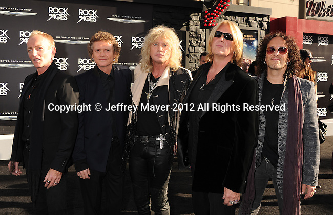 HOLLYWOOD, CA - JUNE 08: Phil Collen, Rick Allen, Rick Savage, Joe Elliott and Vivian Campbell of Def Leppard  arrive at the 'Rock Of Ages' - Los Angeles Premiere at Grauman's Chinese Theatre on June 8, 2012 in Hollywood, California.