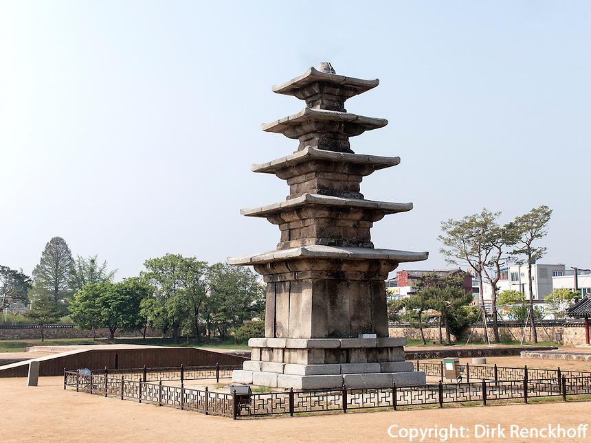 Pagode, buddhistischer Tempel JeongmiSa  in Buyeo, Provinz Chungcheongnam-do, S&uuml;dkorea, Asien, UNESCO-Weltkulturerbe<br /> pagoda, buddhist temple JeongmiSa in Buyeo province Chungcheongnam-do, South Korea, Asia, UNESCO world-heritage