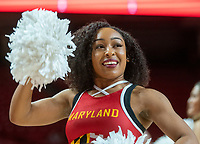 COLLEGE PARK, MD - NOVEMBER 20: Maryland cheerleader performs before the game during a game between George Washington University and University of Maryland at Xfinity Center on November 20, 2019 in College Park, Maryland.