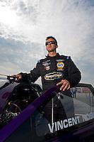 Sept. 4, 2011; Claremont, IN, USA: NHRA pro stock driver Vincent Nobile during qualifying for the US Nationals at Lucas Oil Raceway. Mandatory Credit: Mark J. Rebilas-