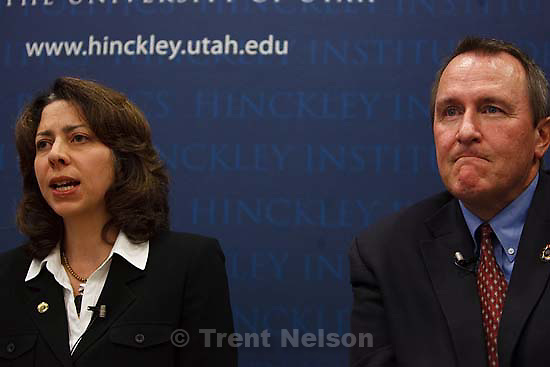 Salt Lake City - Attorney General Mark Shurtleff and his Democratic challenger Jean Welch Hill had a debate Tuesday, September 30, 2008 at the University of Utah's Hinckley Institute Forum.