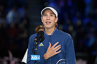 January 1, 2020: GARBIÑE MUGURUZA (ESP) speaks after accepting her runners-up trophy on Rod Laver Arena after the Women's Singles Final match on day 13 of the Australian Open 2020 in Melbourne, Australia. Photo Sydney Low. Kenin won 46 62 62