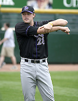 July 25, 2004:  Pitcher Matt Belisle of the Louisville Bats, Triple-A International League affiliate of the Cincinnati Reds, during a game at Frontier Field in Rochester, NY.  Photo by:  Mike Janes/Four Seam Images
