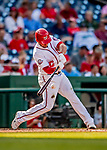 26 September 2018: Washington Nationals infielder Adrian Sanchez singles to load the bases in the second inning against the Miami Marlins at Nationals Park in Washington, DC. The Nationals defeated the visiting Marlins 9-3, closing out Washington's 2018 home season. Mandatory Credit: Ed Wolfstein Photo *** RAW (NEF) Image File Available ***