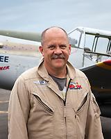 Allan Miller, Red Tail Squadron P-51C Mustang Fighter Pilot, Arlington Fly-In 2015, Washington State, WA, America, USA.
