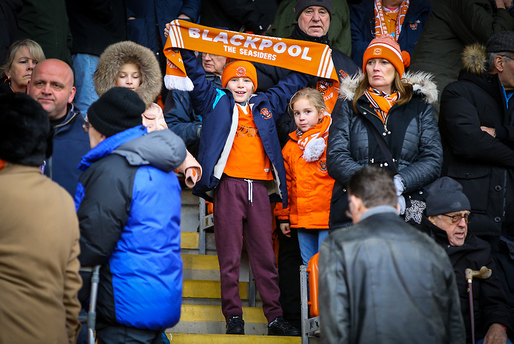 A young Blackpool fan gets behind his team<br /> <br /> Photographer Alex Dodd/CameraSport<br /> <br /> The EFL Sky Bet League One - Blackpool v Shrewsbury Town - Saturday 19 January 2019 - Bloomfield Road - Blackpool<br /> <br /> World Copyright &copy; 2019 CameraSport. All rights reserved. 43 Linden Ave. Countesthorpe. Leicester. England. LE8 5PG - Tel: +44 (0) 116 277 4147 - admin@camerasport.com - www.camerasport.com